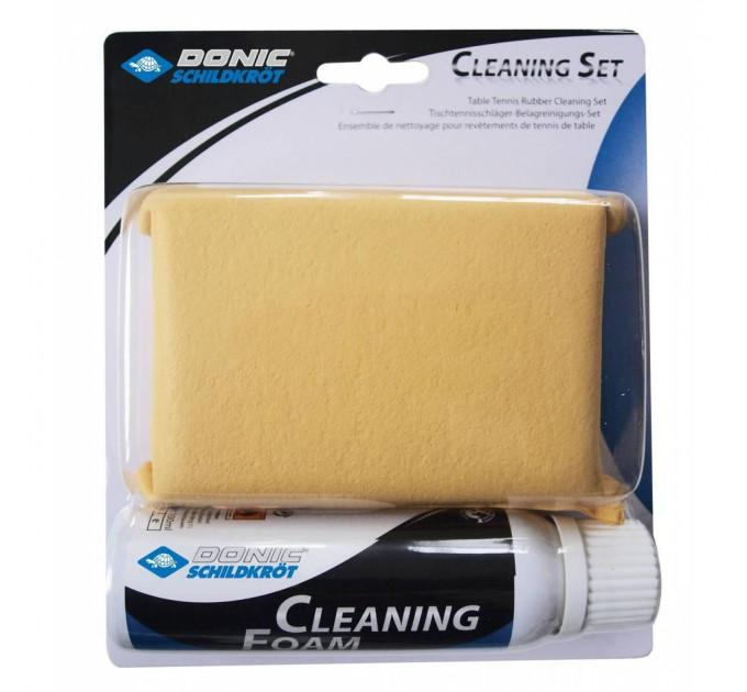 Набор для чистки ракеток Donic Cleaning set (foam cleaner 100 ml + sponge in a box) ✅
