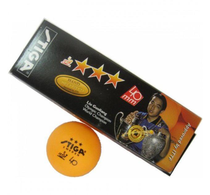 Мячики для пинг-понга Stiga Liu Guoliang 3* 3шт orange ✅