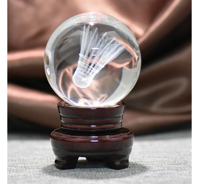 Сувенир хрустальный мяч с воланом (на подставке)